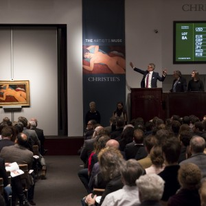 """Christie's auctioneer Jussi Pylkkanen auctions Amedeo Modigliani's """"Nu couche'"""" during a curated auction at Christie's entitled """"The Artist's Muse"""" in Manhattan, New York November 9, 2015. The work was sold for a hammer price of $US152,000,000.00 and sold for $170,405,000.000. The auction featured works by a range of artists including Amedeo Modigliani, Roy Lichtenstein and Paul Gauguin and expected to see artist auction records set. REUTERS/Andrew Kelly      ATTENTION EDITORS - EDITORIAL USE ONLY. NO RESALES. NO ARCHIVE      TPX IMAGES OF THE DAY"""