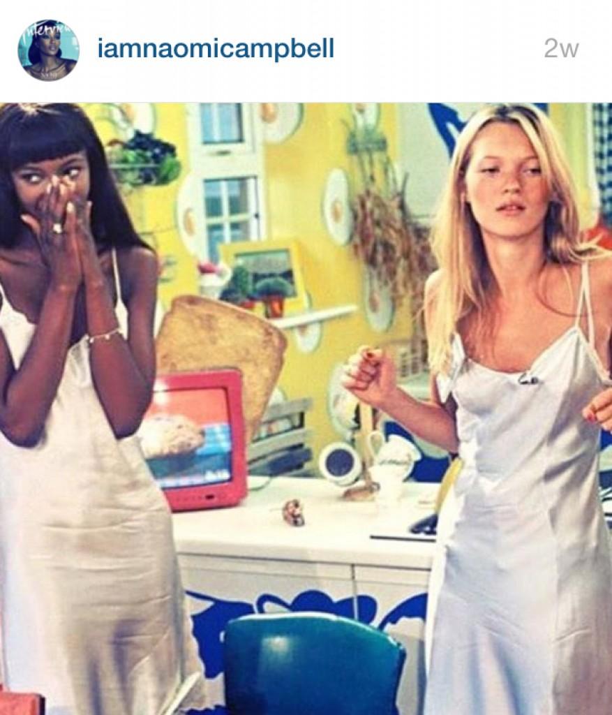 25aaa5cebc Η Ναόμι Κάμπελ και η Κέιτ Μός με slip dresses σε αγγλική τηλεοπτική εκπομπή  (επίσημος λογαριασμός Instagram της Ναόμι Κάμπελ)