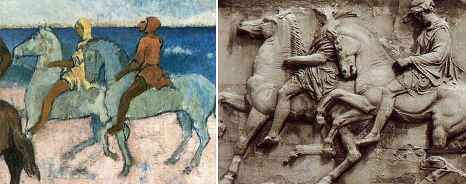 Ο Gauguin και τμήμα της Δυτικής ζωφόρου του Παρθενώνα