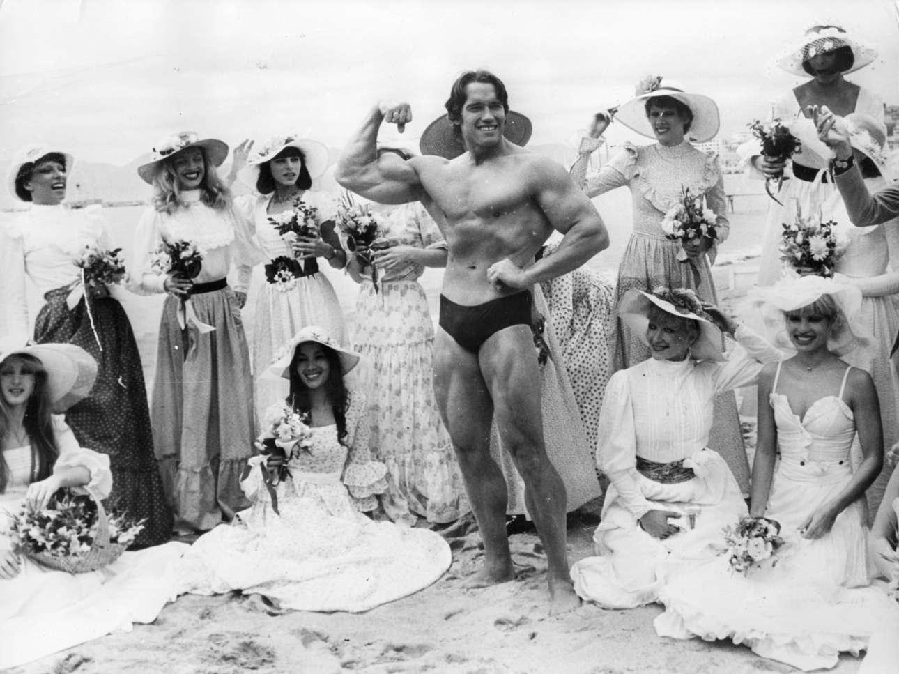 Μάιος 1977. Τα κορίτσια του κάδρου είναι από τα περίφημα Φολί Μπερζέ. Στο κέντρο ένας άνδρας που προσπαθεί να γίνει γνωστός με το μυικό του σύστημα. Το όνομά του Αρνολντ Σβαρτσενέγκερ. Για την ώρα περιορίζεται μόνο στην παραλία των Καννών. Η επιτυχία όμως δεν θα αργήσει να έρθει...