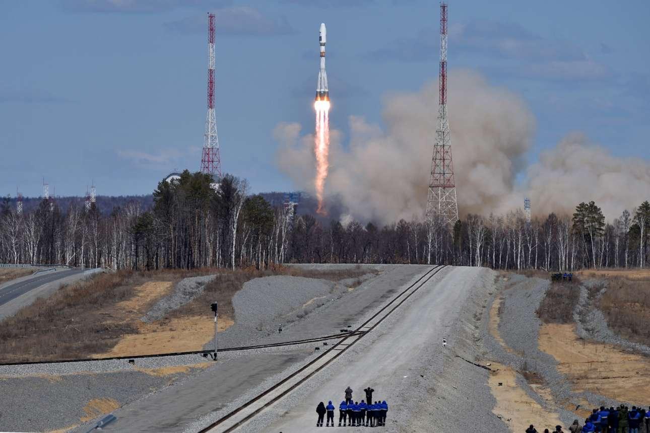 Η εκτόξευση του ρωσικού Σογιούζ από άλλο σημείο μέσα στο κοσμοδρόμιο Βοστότσνι