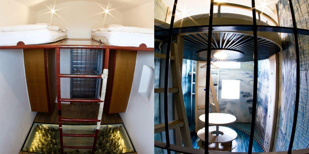 Hostel Celica, Σλοβενία.  Είκοσι δωμάτια – κελιά μιας πρώην φυλακής, καθένα από τα οποία έχει διακοσμηθεί από διαφορετικό καλλιτέχνη. Οι περισσότεροι από αυτούς πάντως κράτησαν τα κάγκελα στα παράθυρα για να μην χαθεί η αίσθηση της φυλάκισης σε όποιον θέλει να ζήσει την εμπειρία.