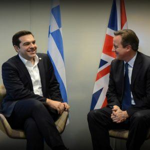 David Cameron arrives in Brussels for the EU Council and meets with Prime Minister Tsipras