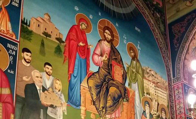 Η οικογένεια Σαββίδη σε αγιογραφία στον Ιερό Ναό Αγίου Πνεύματος στο Πρόχωμα Θεσσαλονίκης