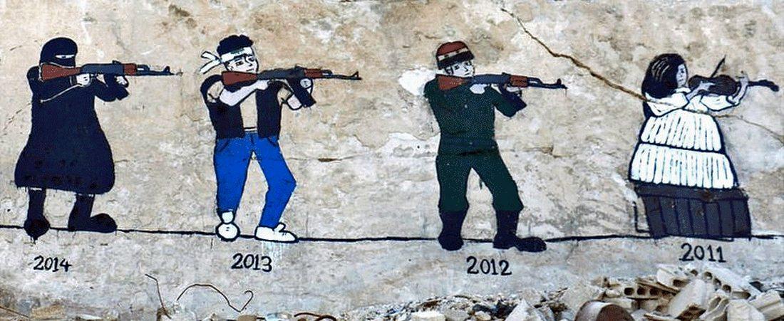 Η εξέλιξη του συριακού πολέμου μέσα στα χρόνια. Από τις ειρηνικές διαδηλώσεις του 2011, στις καθεστωτικές δυνάμεις (2012), στις νίκες των ανταρτών (2013) και τέλος στην άνοδο του Ισλαμικού Κράτους το 2014