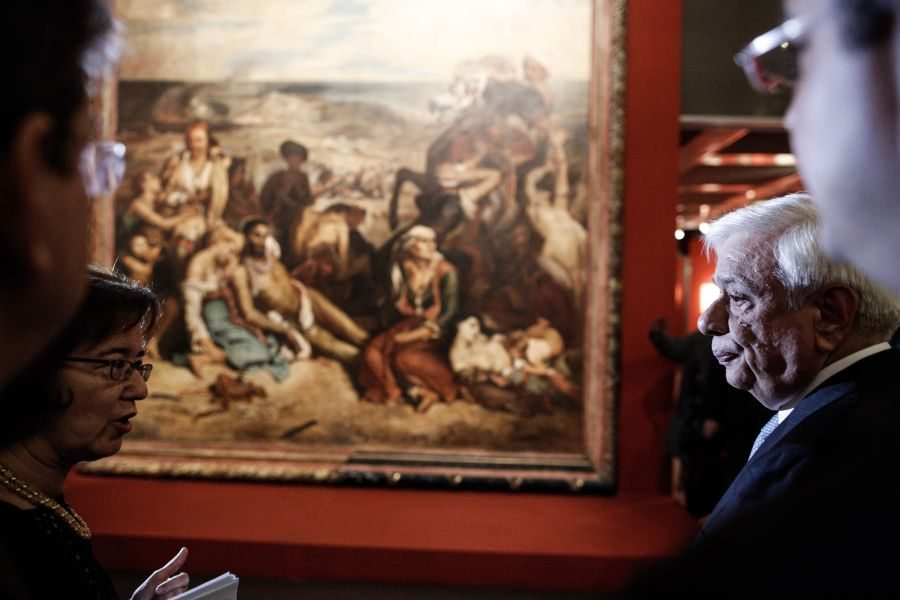 "The President of Greece Prokopis Pavlopoulos attends the opening of the exhibitions `Delacroix directs '21` and 'Philippoteaux creates the Panorama of the Siege of Paris' at the Teloglio Institute, Thessaloniki, Greece on October 18, 2016. / Εγκαίνια των εκθέσεων ""Ο Ντελακρουά σκηνοθετεί το '21"" και ""Ο Φιλιποτό δημιουργεί το Πανόραμα της Πολιορκίας του Παρισιού"" παρουσία του Προέδρου της Δημοκρατίας Προκόπη Παύλοπουλου, στο Τελλόγλειο Ίδρυμα, στη Θεσσαλονίκη, τις 18 Οκτωβρίου 2016."