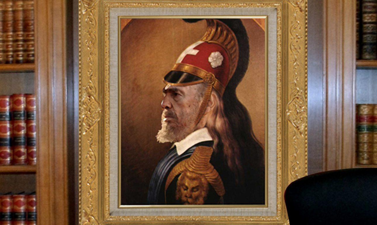 Δύο ιστορικά πορτρέτα σε ένα: ο Φιντέλ Κάστρο και ο Θεόδωρος Κολοκοτρώνης ενώνονται πίσω από τον Πρωθυπουργό. Ενα δυνατό μήνυμα!