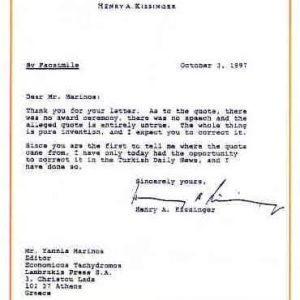 Η επιστολή Κίσινγκερ προς τον Γιάννη Μαρίνο, με την οποία διαψεύδει τα περί δήλωσης για τους Ελληνες