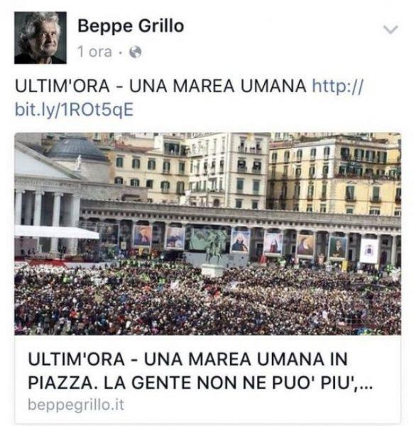TopostτουΜπέπεΓκρίλοστοfacebookμε τη φωτογραφία του πλήθους έγραφε: «ενας ωκεανός διαδηλωτών. Οι πολίτες έχουν κουραστεί». Η φωτογραφία υποτίθεται ότι έδειχνε μια διαδήλωση εναντίον τουΜατέοΡέντσι. Στην πραγματικότητα ήταν από ομιλία του Πάπα. Στη συνέχεια οΓκρίλοανασκεύασε το δημοσίευμα