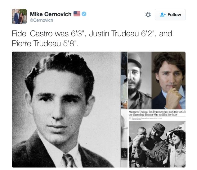 Κι άλλη απόδειξη: ο Φιντέλ είχε ύψος 1.90, ο Τζάστιν 1.88 και ο Πιερ ήταν 1.72. Κάτω δεξιά η κυρία δίπλα στον Κάστρο που κρατά τον μικρό αδελφό του Τζάστιν είναι η μητέρα του σημερινού πρωθυπουργού του Καναδά, Μάργκαρετ