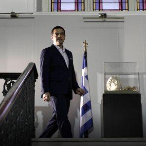 Επίσκεψη του πρωθυπουργού Αλέξη Τσίπρα στην Θεσσαλονίκη με αφορμή τα εγκαίνια του πρωθυπουργικού γραφείου στο Υπουργείο Μακεδονίας Θράκης, Θεσσαλονίκη, 26 Νοεμβρίου 2016.