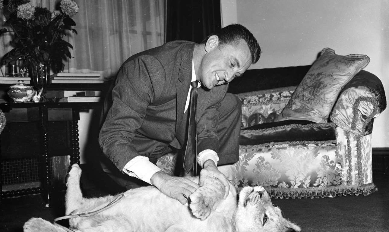 O Κερκ Ντάγκλας στο απόγειο της δόξας του, παίζει με ένα λιονταράκι. Το όνομά του, «Σπάρτακος»