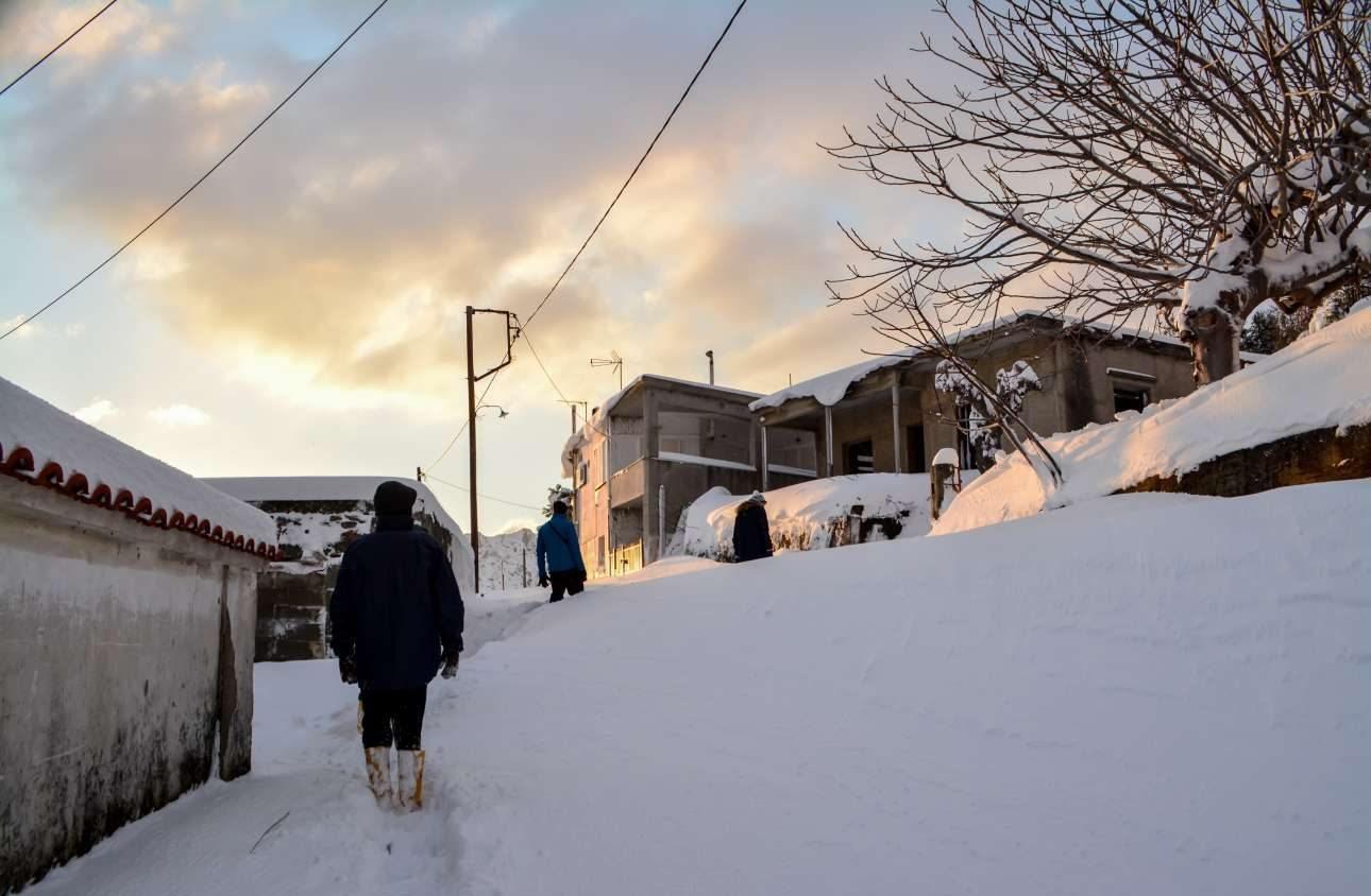 Οξύλιος, Εύβοια/ Το χιόνι έχει καλύψει τα πάντα όμως κάποιοι θαρραλέοι βγήκαν στον δρόμο και απόλαυσαν το τοπίο