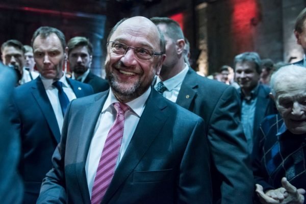 LEIPZIG, GERMANY - FEBRUARY 26: Martin Schulz, chancellor candidate of the German Social Democrats (SPD), walks to the stage at a campaign event on February 26, 2017 in Leipzig, Germany. Schulz announced his candidacy in January and has since seen strong support in recent polls that give a lead over current chancellor and Christian Democrat Angela Merkel. Germany is scheduled to hold federal elections in September. Today was his first large-scale campaign event in eastern Germany, where the populist and right-wing Alternative fuer Deutschland (AfD) has garnered a strong base of support. (Photo by Jens-Ulrich Koch/Getty Images)