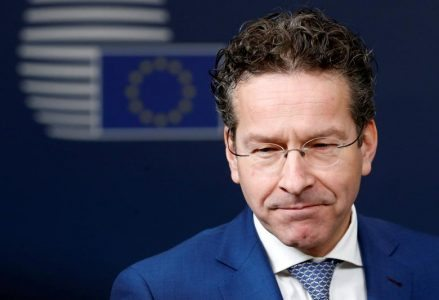 FILE PHOTO: Dutch Finance Minister and Eurogroup President Jeroen Dijsselbloem talks to the media as he arrives at European Union finance ministers meeting in Brussels, Belgium, February 21, 2017. REUTERS/Francois Lenoir/File Photo