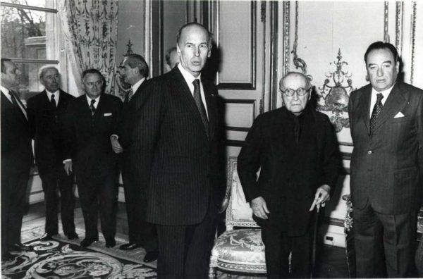 Ευρωπαίοι ηγέτες σε μεσημεριανό γεύμα στις 25 Μαρτίου του 1957, για να γιορτάσουν την υπογραφή της Συνθήκης της Ρώμης (Présidence de la République)