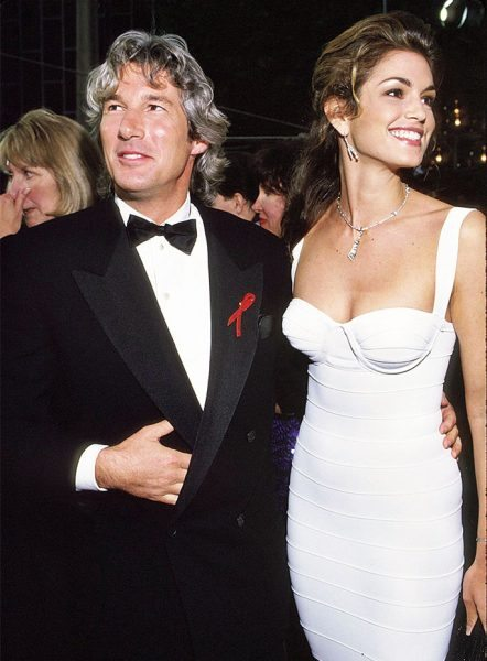 (NO TABLOIDS) Richard Gere & Cindy Crawford during 65th Annual Academy Awards at the Shrine Auditorium in Los Angeles, California. (Photo by Kevin Mazur/WireImage)