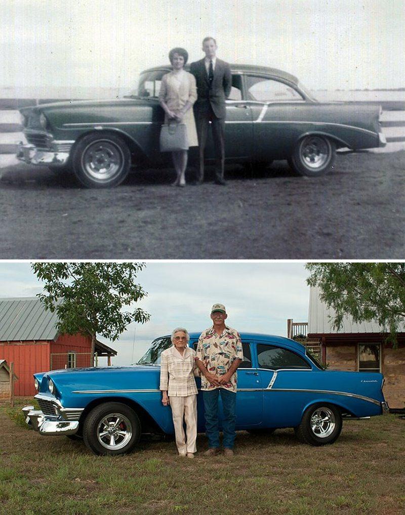 Η μία φωτογραφία τραβήχτηκε το 1961 και η άλλη το 2012. Το αγαπημένο ζευγάρι είναι μαζί για παραπάνω από 50 χρόνια... και με το αυτοκίνητο