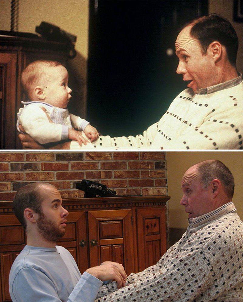 Πατέρας και γιος κοιτάζονται με το ίδιο έκπληκτο βλέμμα 28 χρόνια μετά