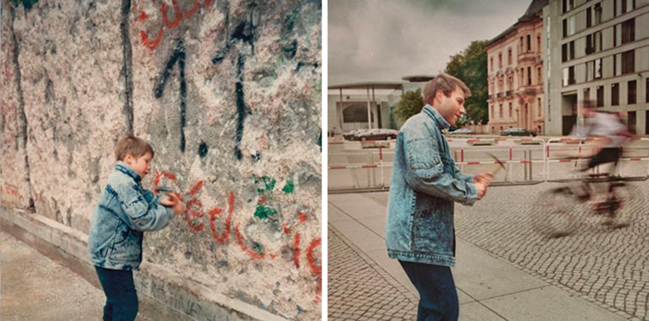 Ο Κριστόφ ποζάρει μπροστά στο Τείχος του Βερολίνου το 1990 και χωρίς το Τείχος εικοσιένα χρόνια αργότερα