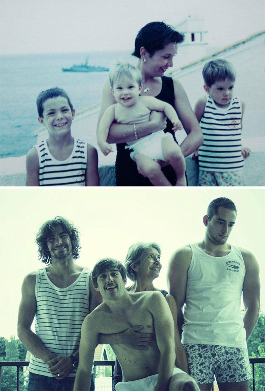 «Για τα γενέθλια του μπαμπά μας, προσπαθήσαμε να τραβήξουμε την ίδια φωτογραφία είκοσι χρόνια μετά. Μεγαλώσαμε λίγο..»