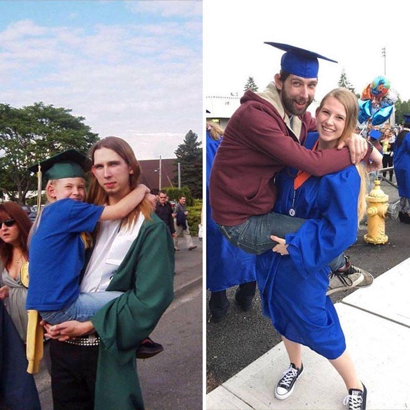Δέκα χρόνια αργότερα, τα δύο αδέλφια αλλάζουν θέσεις για την ημέρα της αποφοίτησης