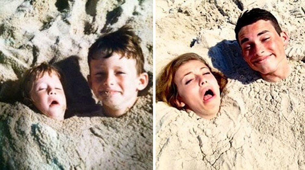 Τα δύο αδέλφια συνεχίζουν να παίζουν στην άμμο...