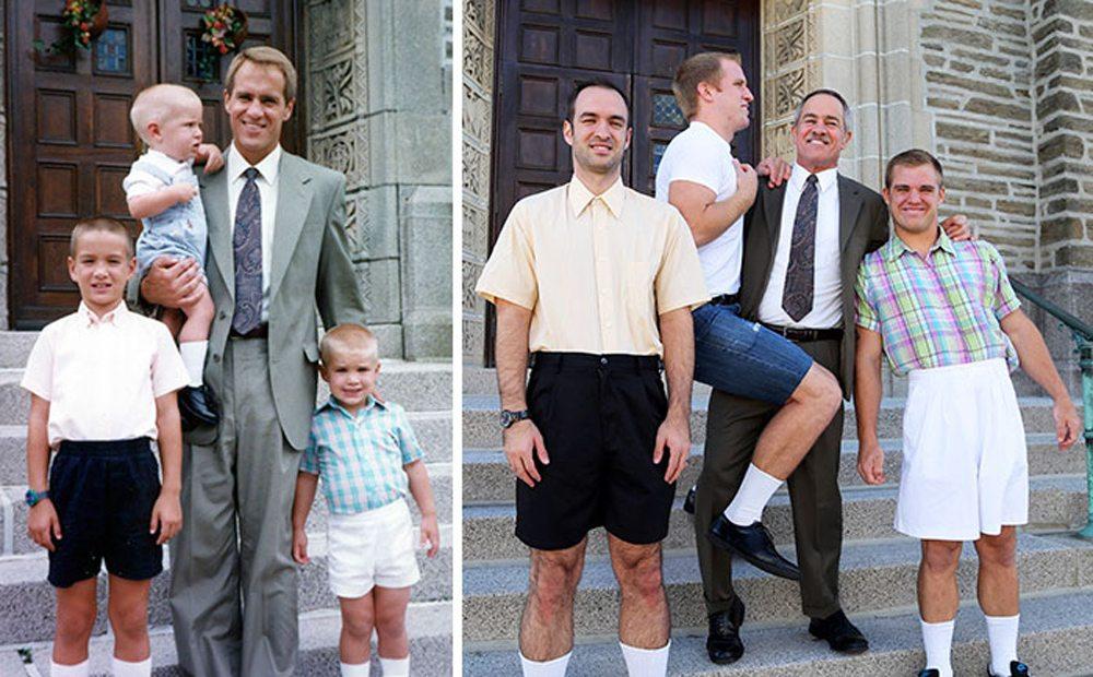 Μερικές δεκαετίες αργότερα, ένας ευτυχισμένος πατέρας ποζάρει με τους τρεις γιους του ξανά