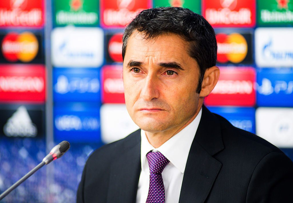 BORISOV,BELARUS - SEPTEMBER 30: Ernesto Valverde,Head Coach of Athletic Club at a press conference after the UEFA Champions League Group H match between Bate Borisov and Athletic Bilbao at the Borisov Arena on September 30, 2014 in Borisov, Belarus. (Photo by Maxim Malinovsky/EuroFootball/Getty images)