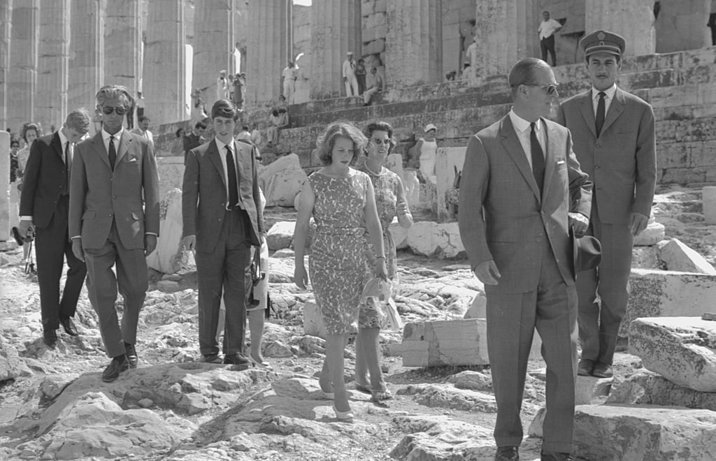 The British Royal family visiting the Parthenon in Athens: Prince Philip, Prince Charles, Princess Anne, Prince Georg and Princess Sophie, Greece, 1964. (Photo by Bob Haswell/Express/Getty Images)