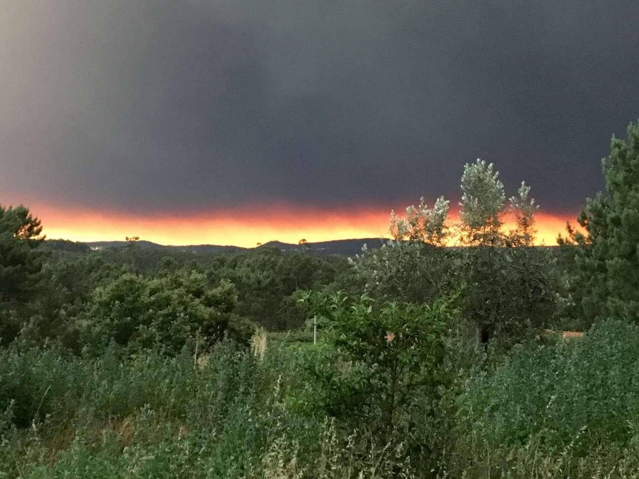 Ενα πολύ μεσογειακό -γνώριμο σε εμάς- τοπίο που απειλείται από φλόγες που λάμπουν στο φόντο