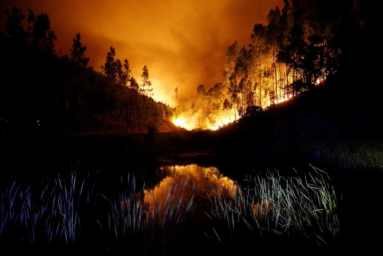 Η λίμνη αντικατοπτρίζει τις φλόγες και τους καπνούς που έχουν καλύψει την ατμόσφαιρα γύρω από το χωριό Μπούκα