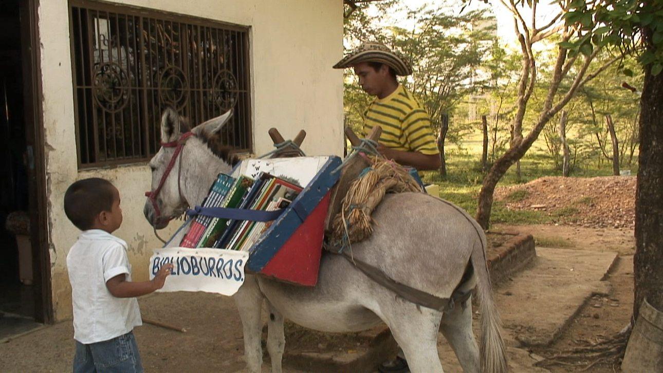 Στην Κολομβία ένα γαϊδουράκι, γνωστό ως Biblioburro, αναλαμβάνει να μορφώσει τους νεαρούς αναγνώστες. Η ιδέα του γαϊδουριού - βιβλιοθήκη ανήκει στον Λουίς Σοριάνο,ο οποίος ως εκπαιδευτικός αντιλήφθηκε την θετική επίδραση που έχει η ανάγνωση σε μαθητές που έχουν περάσει δύσκολα