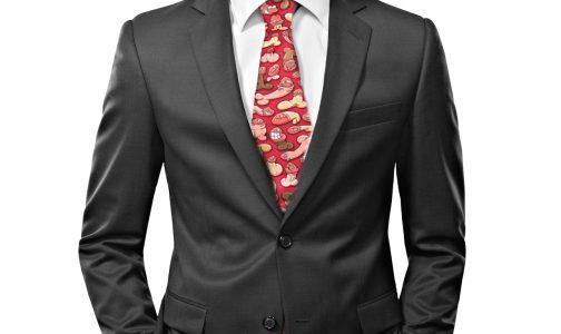 Suit tying the necktie