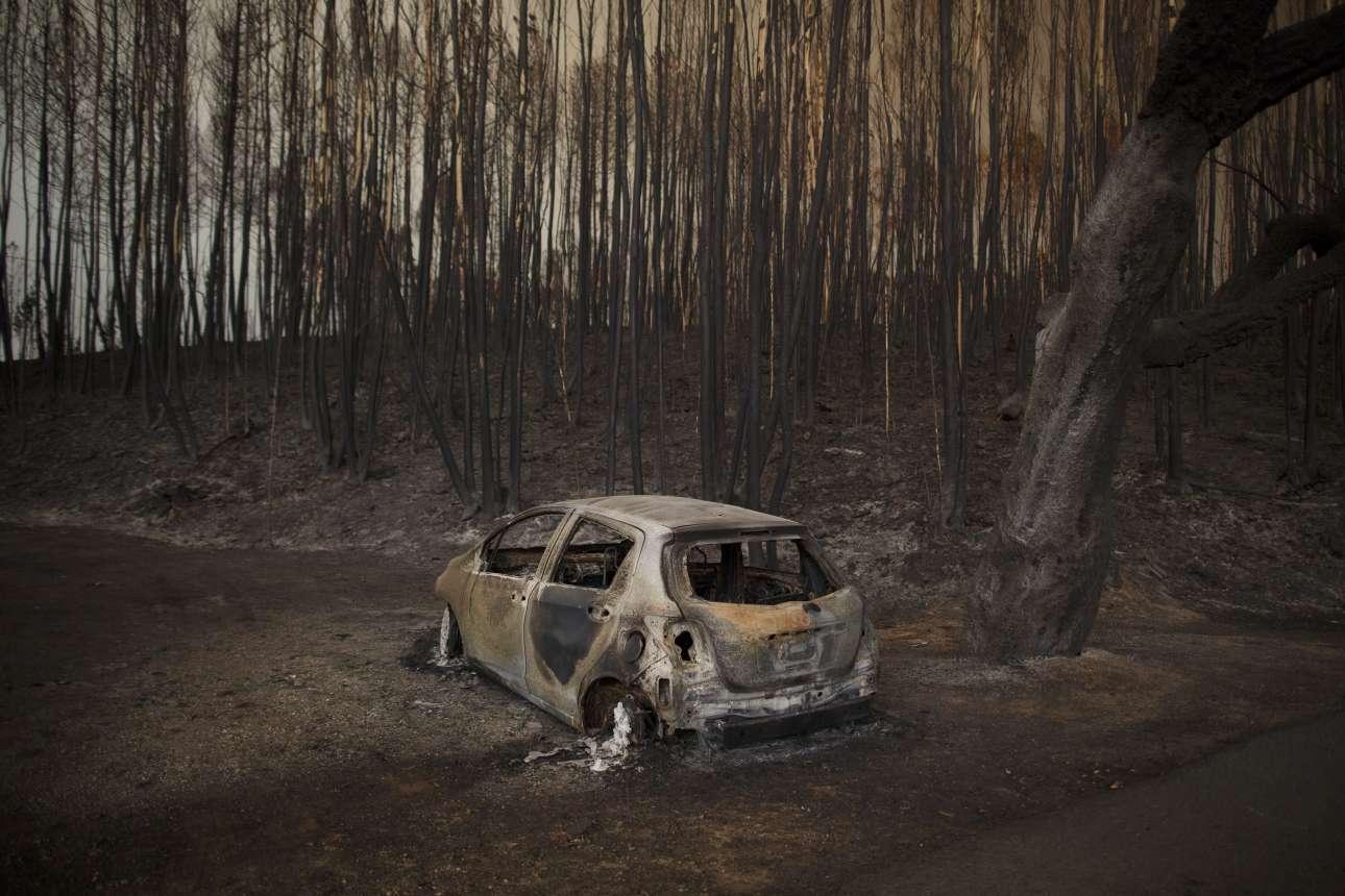 Καμένο αυτοκίνητο δίπλα στο καμένο δάσος. Τουλάχιστον 30 άνθρωποι απανθρακώθηκαν ενώ προσπαθούσαν να δραπετεύσουν από τις φλόγες με τα οχήματά τους