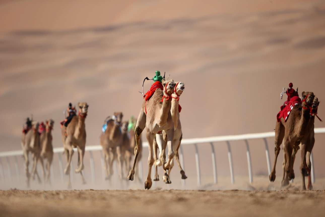 Μια εικόνα που μοιάζει βγαλμένη από ταινία επιστημονικής φαντασίας. Τζόκεϊ ρομπότ ιππεύουν καμήλες στο Φεστιβάλ Σπορ της ερήμου Liwa, στο Αμπου Ντάμπι