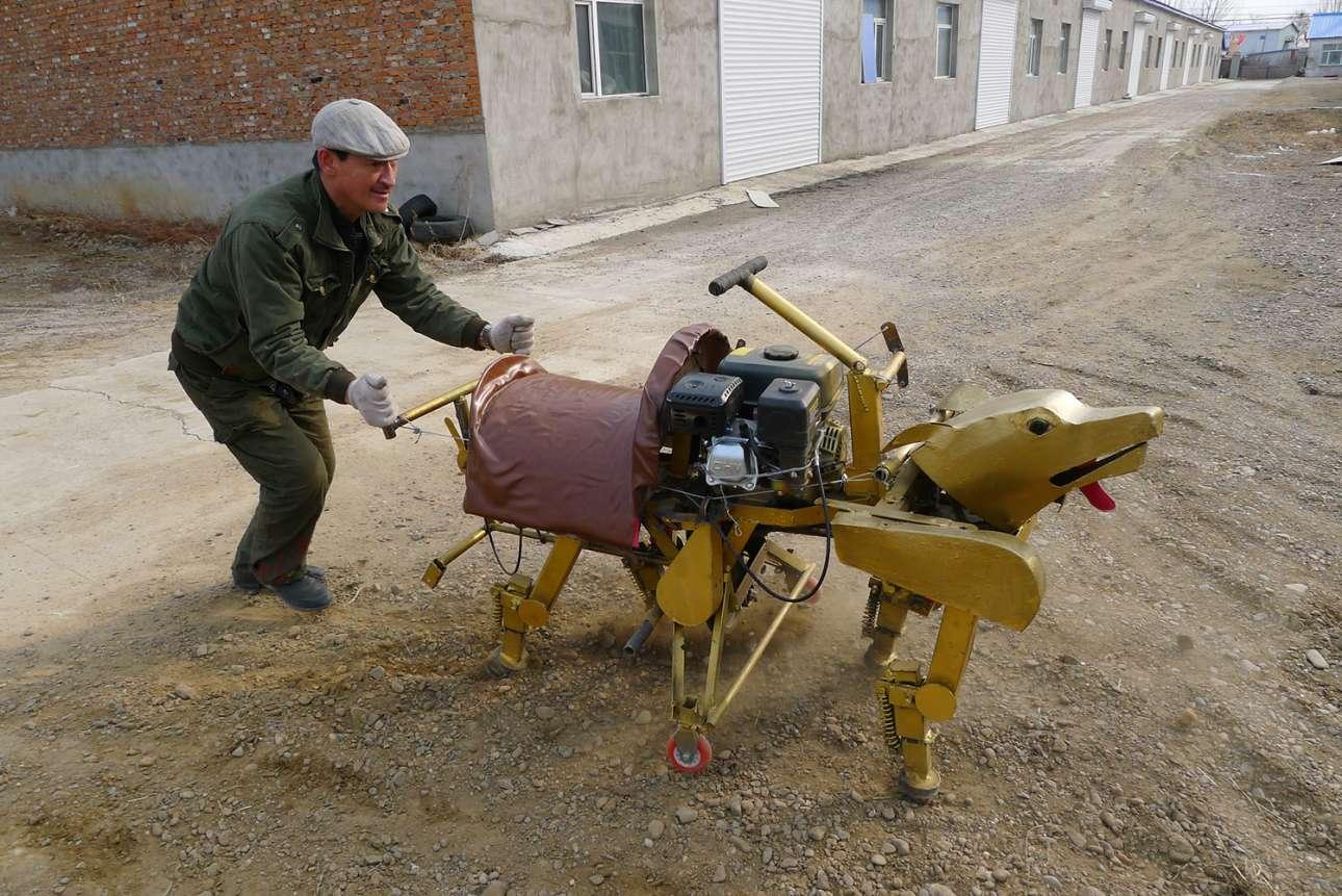 Στην επαρχία Heilongjiang της Κίνας, ο εικονιζόμενος άνδρας κατασκεύασε μόνος του ένα ρομπότ - ρέπλικα ζώου, ικανό να μεταφέρει έναν άνθρωπο