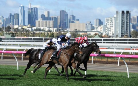 epa06125612 Jockey Ben Melham on his horse Aloft (L) to win in Race 4 - the Winter Lodge Handicap - on National Jockey Celebration Day at Flemington Racecourse in Melbourne, Victoria, Australia, 05 August 2017. EPA/MAL FAIRCLOUGH AUSTRALIA AND NEW ZEALAND OUT
