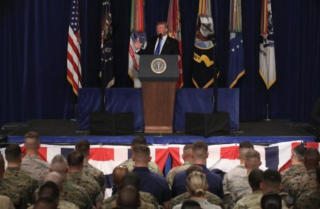 epa06155611 US President Donald J. Trump delivers remarks on America's military involvement in Afghanistan at the Fort Myer military base in Arlington, Virginia, USA, 21 August 2017. Trump was expected to announce a modest increase in troop levels in Afghanistan, the result of a growing concern by the Pentagon over setbacks on the battlefield for the Afghan military against Taliban and al-Qaeda forces.  EPA/MARK WILSON / POOL