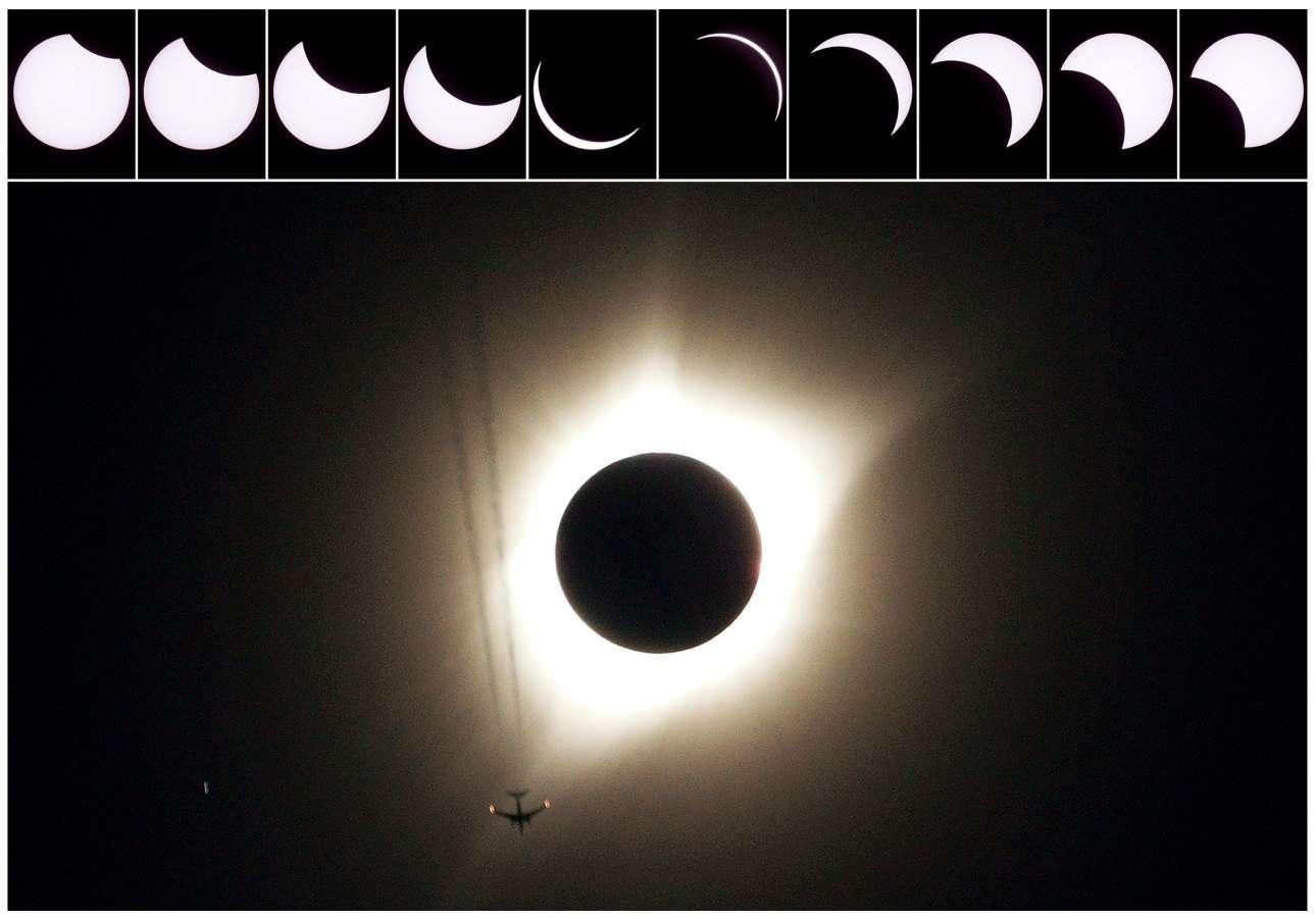Η πορεία της έκλειψης μέσα από δέκα εικόνες και στην κεντρική φωτογραφία ένα αεροπλάνο πετάει δίπλα από το σπάνιο φαινόμενο πάνω από το Ουαϊόμινγκ