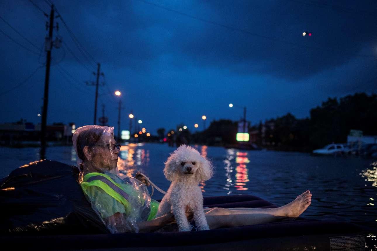 Δευτέρα, 28 Αυγούστου. Ισως η εικόνα που αποτυπώνει με τον καλύτερο τρόπο όσα έγιναν στο Χιούστον. Μια ηλικιωμένη γυναίκα επιπλέει μαζί με τον σκύλο της σε ένα δρόμο που έχει πλημμυρίσει. Στο βάθος διακρίνεται και ένα διασωστικό ελικόπτερο που πετάει πάνω από την κατεστραμμένη πόλη