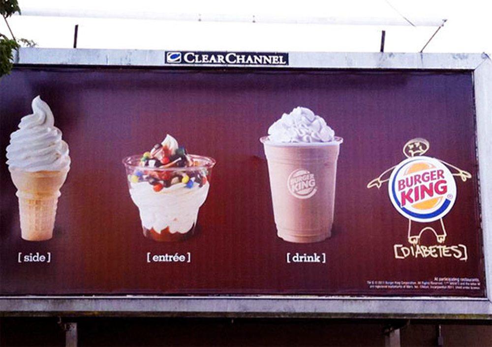 Το logo της αλυσίδας Burger King μεταμορφώνεται σε έναν υπέρβαρο κύριο με διαβήτη. Μάλλον φταίνε όλα τα γλυκά που διαφημίζει η εταιρεία...