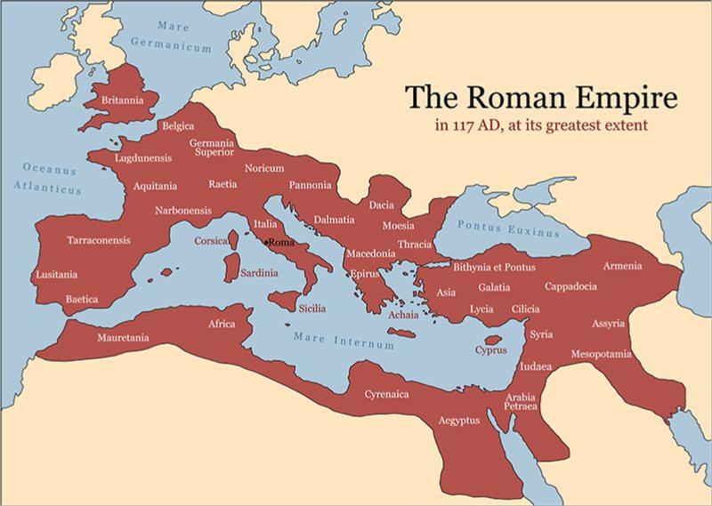 Το 211 π.Χ οι Ρωμαίοι αποκτούν τα ορυχεία ασημιού της Ισπανίας από τους Καρχηδόνιους τα οποία τους επέτρεψαν να εδραιωθούν σε όλη την περιοχή της Μεσογείου και σε πολλές περιοχές της Ευρώπης. Στον χάρτη με κόκκινο χρώμα σημειώνεται η Ρωμαϊκή Αυτοκρατορία στην μέγιστη έκταση της την εποχή του αυτοκράτορα Τραϊανού (shutterstock)