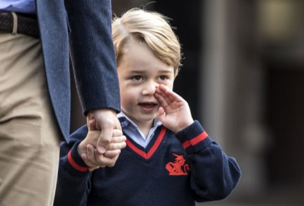 Prince George arrives with the Duke of Cambridge at Thomas's Battersea in London, as he starts his first day of school.