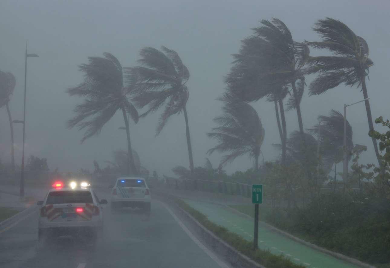 Περιπολία στον τυφώνα, στο παραλιακό μέτωπο του Φαγιάρδο στο Πουέρτο Ρίκο