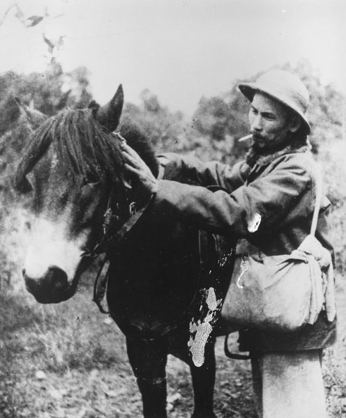 1945: Vietnamese communist leader Ho Chi Minh (Nguyen Tat Thanh, 1890 - 1969) prepares to mount a pony during an offensive against the French. (Photo by Three Lions/Getty Images)