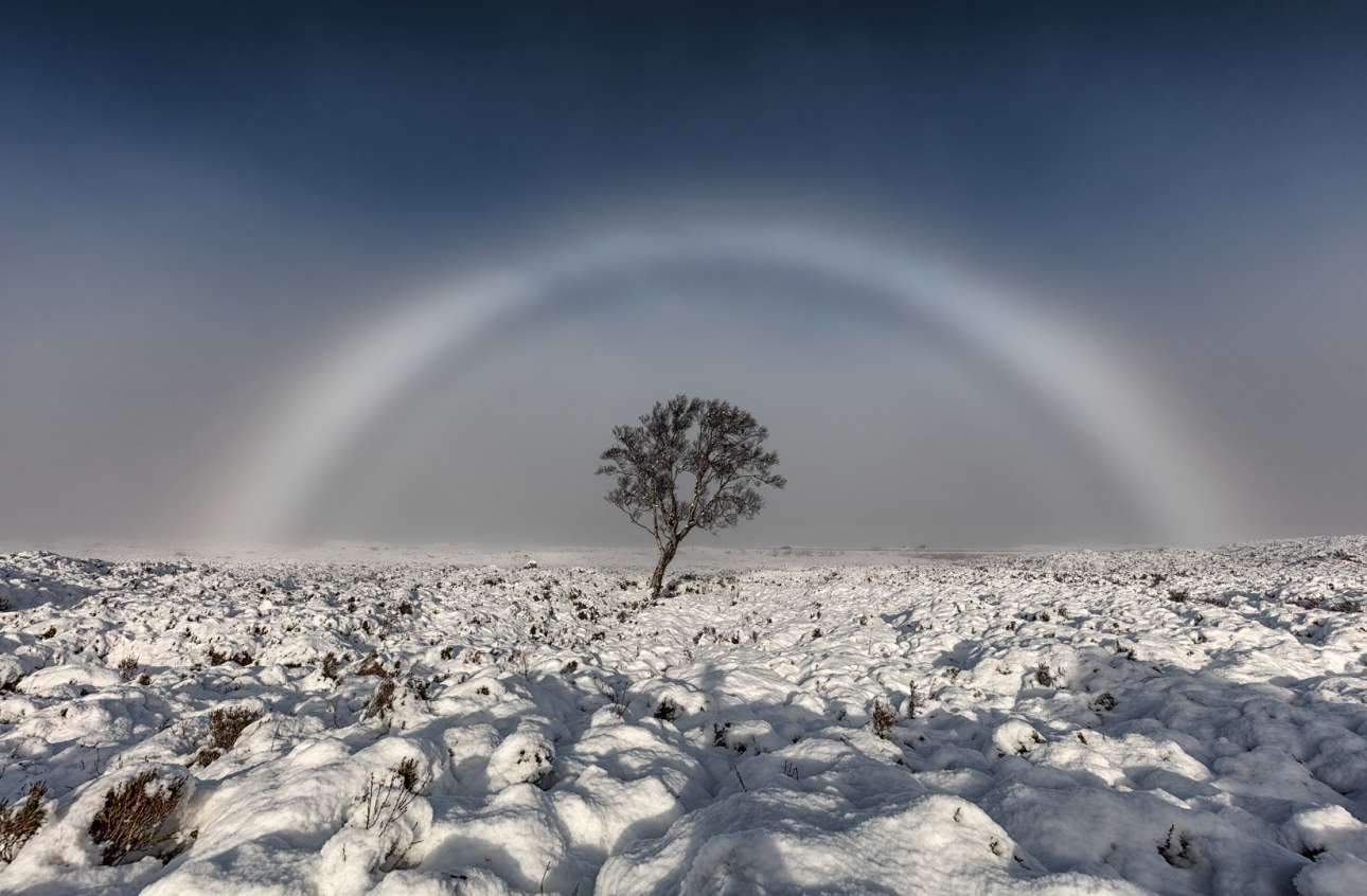 Βραβείο Κοινού. Λευκό ουράνιο τόξο, γνωστό και ως ομιχλώδες τόξο, στην Σκωτία. Το σπάνιο αυτό φαινόμενο συμβαίνει όταν οι σταγόνες νερού που προκαλούν την ομίχλη εμποδίζουν την δημιουργία πολλών χρωμάτων