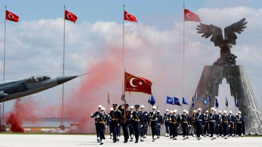 Newly graduated air force cadets march during their graduation ceremony at the Air Force war academy in Istanbul, Turkey, August 31, 2009. REUTERS/Murad Sezer/File Photo