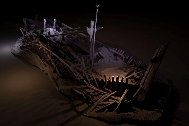 Στην φωτογραφία απεικονίζεται ένα από τα ναυάγια που βρίσκεται σε βάθος 300 μέτρων και σύμφωνα με τους ερευνητές ανήκει στον στόλο της Οθωμανικής Αυτοκρατορίας. (φωτόt: Rodrigo Pacheco-Ruiz)