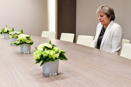epa06277836 British Prime Minister Theresa May attending a bilateral meeting, on the second day of the European Council in Brussels, Belgium, 20 October 2017. European leader meet in Brussels on 19 and 20 October 2017 to discuss most pressing issues, including migration, defence, foreign affairs and digitalisation and to review the latest developments in the negotiations following the United Kingdom's notification of its intention to leave the  EPA/Geert Vanden Wijngaert / POOL